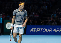Tennis - 2019 Nitto ATP Finals at The O2 - Day One<br /> <br /> Singles Group Bjorn Borg: Roger Federer (Switzerland) vs. Dominic Thiem (Austria)<br /> <br /> Dominic Thiem (Austria) pulls a face after a close line call <br /> <br /> COLORSPORT/DANIEL BEARHAM