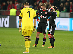 Football: Champions League<br /> Bayer 04 Leverkusen <br /> Bernd Leno, Stefan Kiessling and Gonzalo Castro *** Local Caption *** © pixathlon