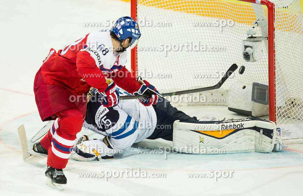 Jaromir Jagr of Czech Republic scores vs Pekka Rinne of Finland second goal for Czech Republic during Ice Hockey match between Finland and Czech Republic at Quarterfinals of 2015 IIHF World Championship, on May 14, 2015 in O2 Arena, Prague, Czech Republic. Photo by Vid Ponikvar / Sportida
