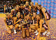 Firebirds bask in the glory of victory - Netball action from ANZ Championship Grand Final - Queensland Firebirds v Northern Mystics - played at the Brisbane Convention Centre on Sunday 22nd May 2011 ~ Photo : Steven Hight (AURA Images) / Photosport