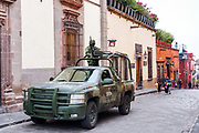 Heavily armed Mexican Army soldiers patrol the historic center during increased security as the city celebrates the 251st birthday of the Mexican Independence hero Ignacio Allende January 21, 2020 in San Miguel de Allende, Guanajuato, Mexico.