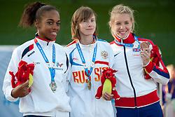 FRANCOIS-ELIE Mandy, Evgeniya Trushnikova, Bethany Woodward, 2014 IPC European Athletics Championships, Swansea, Wales, United Kingdom