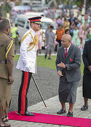AU_1379107 - Suva, FIJI  -  The Duke lays a wreath at the Fiji War Memorial, and meet a number of Fijian war veterans, some of whom served with the British<br /> Armed Forces. <br /> Links between the British Military and Fiji continue to this day with more than 1250 Fijians currently serving in the British Army.<br /> <br /> Pictured: Prince Harry<br /> <br /> BACKGRID Australia 24 OCTOBER 2018 <br /> <br /> Phone: + 61 2 8719 0598<br /> Email:  photos@backgrid.com.au