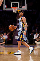 06 November 2009: Guard Allen Iverson of the Memphis Grizzles against the Los Angeles Lakers during the first half of the Lakers 114-98 victory over the Grizzles at the STAPLES Center in Los Angeles, CA.