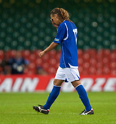 CARDIFF, WALES - Friday, September 5, 2008: Azerbaijan's Fabio Luis Ramim walks off after being shown the second yellow card during the opening 2010 FIFA World Cup South Africa Qualifying Group 4 match against Wales at the Millennium Stadium. (Photo by David Rawcliffe/Propaganda)