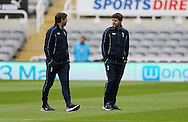 Tottenham Hotspur manager Mauricio Pochettino (r) inspects the pitch prior to the Barclays Premier League match at St. James's Park, Newcastle<br /> Picture by Simon Moore/Focus Images Ltd 07807 671782<br /> 15/05/2016