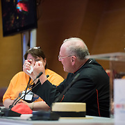 KRAKOW,POLAND 27 JULY: Timothy Cardinal Dolan of the Archdiocese of New York along with Auxiliary Bishop Peter John Byrne meet with World Youth Day PIlgrims from their home Diocese of New York at the Tauron Arena in Krakow, Poland.
