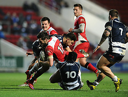 Ulster Inside Centre Sam Windsor is challenged low by Bristol Rugby Fly-Half Matthew Morgan and high from Bristol Rugby Inside Centre Ben Mosses - Mandatory byline: Dougie Allward/JMP - 22/01/2016 - RUGBY - Ashton Gate -Bristol,England - Bristol Rugby v Ulster Rugby - B&I Cup