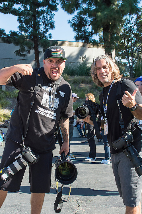 Behind the scenes at day 4 of Sports Shooter Academy X1 where all participants photographed the Santa Ana College Dons take on the Grossmont College football team in Santa Ana, California on 11/8/14 .  Michael Der / Sports Shooter Academy X1