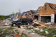 23 APRIL 2011 -- BRIDGETON, Mo. -- Damaged and destroyed homes line Beaverton Drive in Bridgeton, Mo. Saturday, April 23, 2011. The homes were damaged in an apparent tornado that struck the community Friday, April 22, 2011. Image © copyright 2011 Sid Hastings.