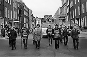Workers from Cork Shoe Co. Ltd. walked from Cork to meet their TDs at Leinster House, in protest at the closure of their factory.<br />