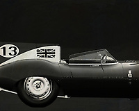 Jaguar Type D 1956 <br /> Like its predecessor Jaguar C-Type, the Jaguar D-Type is a factory-built racing car. The Jaguar D-Type had a straight-XK engine design. At the beginning it was a 3.4 engine, later also a 3.8, together with the C-Type a revolutionary car in terms of aerodynamics and monocoque chassis. The D-Type was produced purely for motorsport, but after Jaguar stopped building the car for motorsport, the company offered the unfinished chassis as the public-road version of the JaguarXKSS. These cars were given a number of modifications such as a passenger seat, a second door, a full windscreen and a roof. But on 12 February 1957 a fire broke out on Browns Lane plant. The fire destroyed nine of 25 cars that were already finished or almost finished. – -<br /> <br /> BUY THIS PRINT AT<br /> <br /> FINE ART AMERICA<br /> ENGLISH<br /> https://janke.pixels.com/featured/jaguar-type-d-1956-b-w-side-jan-keteleer.html<br /> <br /> WADM / OH MY PRINTS<br /> DUTCH / FRENCH / GERMAN<br /> https://www.werkaandemuur.nl/nl/shopwerk/Jaguar-Type-D-1956-Rechterzijde-B-amp-W/571941/132