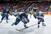 KELOWNA, CANADA - FEBRUARY 23: Libor Zabransky #7 of the Kelowna Rockets stick checks Zack Andrusiak #20 of the Seattle Thunderbirds during first period on February 23, 2018 at Prospera Place in Kelowna, British Columbia, Canada.  (Photo by Marissa Baecker/Shoot the Breeze)  *** Local Caption ***