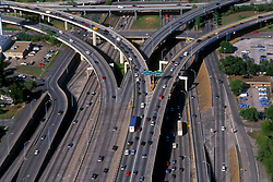 Aerial of highway 290 at the I-45 exit in Houston Texas