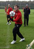Photo: Paul Thomas.<br /> Manchester United training session. UEFA Champions League. 16/10/2006.<br /> <br /> Wayne Rooney.