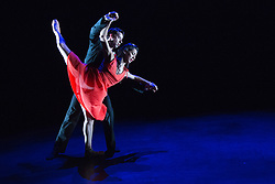"""© Licensed to London News Pictures. 18/06/2015. London, UK. Pictured: """"Memory of What Could Have Happened"""", choreographed by Renato Paroni de Castro with Sarah Kundi, Vitor Menezes and Guilherme Menezes performing. The English National Ballet (ENB) presents Choreographics, dance created by emerging and developing choreographers inspired by the theme of """"Post-War America"""" at the Lilian Baylis Studio/Sadler's Wells. Photo credit : Bettina Strenske/LNP"""