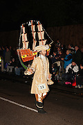 Pirate Goldm in the single masqueraders class at the 2011 Bridgwater Guy Fawkes Carnival. Bridgwater Carnival is an annual event to raise money for local charities. It is widely reputed to be the largest illuminated carnival in the world.