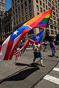 New York, NY - 25 June 2017. New York City Heritage of Pride March filled Fifth Avenue for hours with groups from the LGBT community and it's supporters. A man with a flagpole with two banners, one a combination of the rainbow and Puerto Rican flags, the other a combination of the Puerto Rican and American flags.