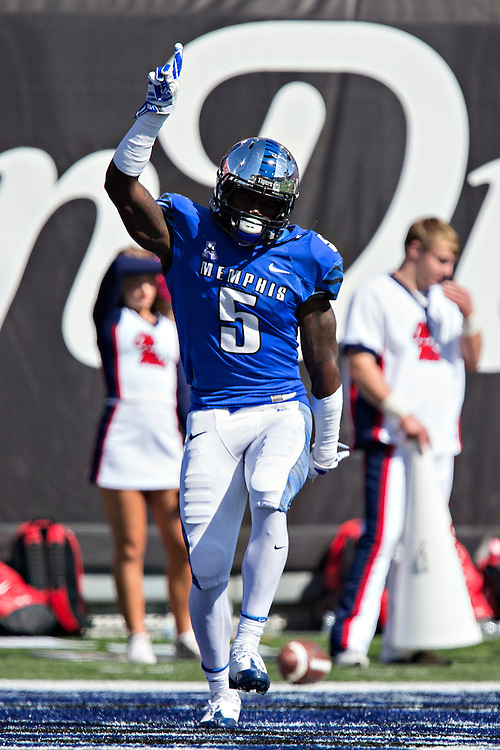 MEMPHIS, TN - OCTOBER 17:  Mose Frazier #5 of the Memphis Tigers celebrates after scoring a touchdown against the Ole Miss Rebels at Liberty Bowl Memorial Stadium on October 17, 2015 in Memphis, Tennessee.  The Tigers defeated the Rebels 37-24.  (Photo by Wesley Hitt/Getty Images) *** Local Caption *** Mose Frazier