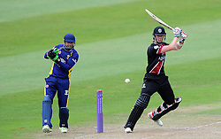 Somerset's Adam Hose cuts the ball. - Photo mandatory by-line: Harry Trump/JMP - Mobile: 07966 386802 - 29/07/15 - SPORT - CRICKET - Somerset v Durham - Royal London One Day Cup - The County Ground, Taunton, England.