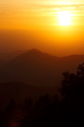 Sunset over mountains, Sequoia National Park, California, United States of America