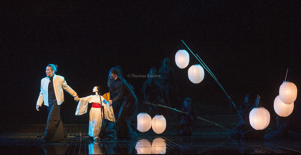 Madam Butterfly - English National Opera. Directed by Anthony Mikghella, Revival Director  Sarah Tipple<br /> Conductor, Richard Armstrong. <br /> <br /> Rena Harms as Madam Butterfly<br /> David Butt Philip as Pinkerton<br /> George von Bergen as Sharpless<br /> Alun Rhys Jenkins as Goro<br /> Matthew Durkan as Prince Yamadori<br /> and Stephanie Windsor-Lewis as Suzuki