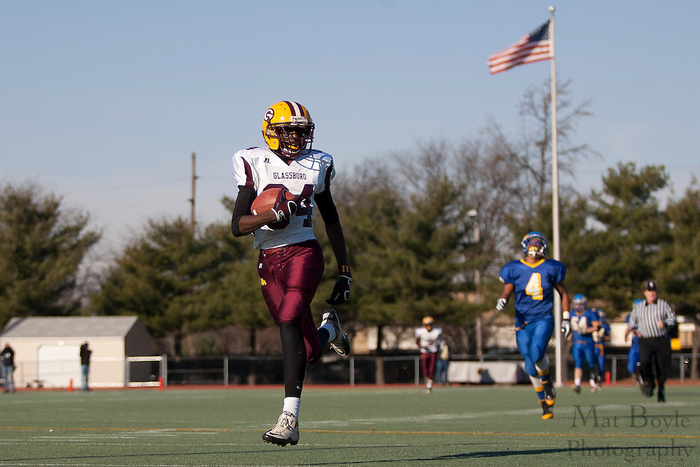 Glassboro High School's Jwan Johnson (84)..NJSIAA South Jersey Group 1 Title match between Pennsville High School and Glassboro High School held at Coach Richard Wacker Stadium on the campus of Rowan University in Glassboro, NJ on Saturday, December 3, 2011. (photo: Mat Boyle)