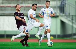 Aleš Mertelj of Triglav vs Mitja Lotrič of Celje during football match between NK Triglav and NK Celje in 7th Round of Prva liga Telekom Slovenije 2019/20, on August 25, 2019 in Sports park, Kranj, Slovenia. Photo by Vid Ponikvar / Sportida