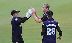 Geraint Jones of Gloucestershire celebrates as he catches out Daniel Bell-Drummond of Kent with Craig Miles of Gloucestershire - Photo mandatory by-line: Dougie Allward/JMP - Mobile: 07966 386802 - 12/07/2015 - SPORT - Cricket - Cheltenham - Cheltenham College - Natwest Blast T20