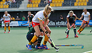 Den Bosch's Sian Keil challenges with Surbiton's Rebecca Middleton during their semi final of the EHCC 2017 at Den Bosch HC, The Netherlands, 3rd June 2017