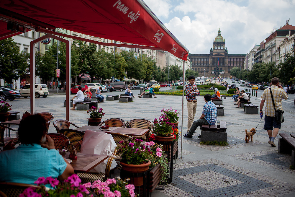 """""""Tram Cafe"""" located in the middle of Wenceslas Square in Prague."""