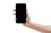 Woman hand holding Apple iPhone X, large screen smartphone, with blank black screen. The phone is isolated on white background with a clipping path.