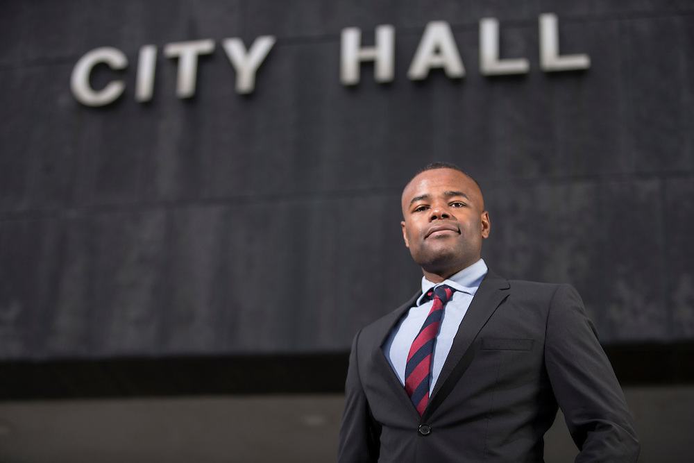 London, Ontario ---2016-11-24--- London city councillor Mohamed Salih, poses for a photo outside of City Hall, November 24, 2016. Salih led the motion to end carding by the city's police force.<br /> GEOFF ROBINS Toronto Star