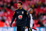 Brazil Paris Saint Germain PSG midfielder Neymar (10) warming up  during the International Friendly match between England and Brazil at Wembley Stadium, London, England on 14 November 2017. Photo by Simon Davies.