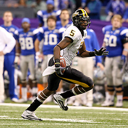 Dec 20, 2009; New Orleans, LA, USA; Southern Miss Golden Eagles wide receiver DeAndre Brown (5) runs after a catch during the 2009 New Orleans Bowl at the Louisiana Superdome. Middle Tennessee State defeated Southern Miss 42-32. Mandatory Credit: Derick E. Hingle-US PRESSWIRE