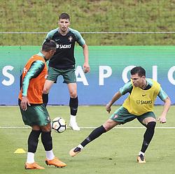 May 23, 2018 - Na - Oeiras, 22/05/2018 - Ruben Dias e Pepe durante o primeiro treino da selecção nacional de preparação do Mundial FIFA de futebol Russia2018, esta tarde na Cidade do Futebol. (Credit Image: © Atlantico Press via ZUMA Wire)