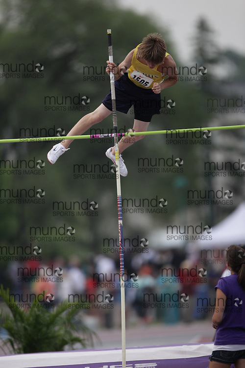 (London, Ontario}---04 June 2010) Jesse Marcil of Ridgeway-Crystal - Ridgeway competing in the pole vault at the 2010 OFSAA Ontario High School Track and Field Championships. Photograph copyright Julie Robins / Mundo Sport Images, 2010.