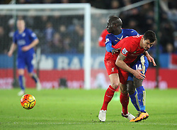 Dejan Lovren of Liverpool (C) and N'Golo Kante of Leicester City in action - Mandatory byline: Jack Phillips/JMP - 02/02/2016 - FOOTBALL - King Power Stadium - Leicester, England - Leicester City v Liverpool - Barclays Premier League