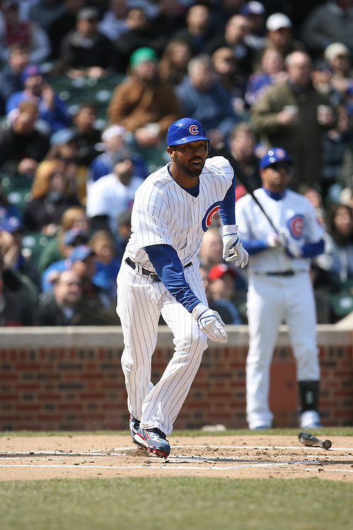 CHICAGO - APRIL 2:  Derrek Lee #25 of the Chicago Cubs bats during the game against the Milwaukee Brewers at Wrigley Field in Chicago, Illinois on April 2, 2008.  The Brewers defeated the Cubs 8-2. (Photo by Ron Vesely)