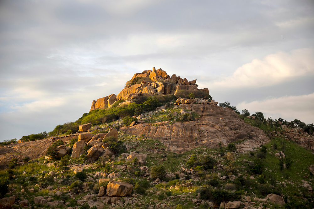 KADIRI, INDIA - 27th October 2019 - Rocky mountain outcrop landscape in sunset light, region between Kadiri and Puttaparthi, Andhra Pradesh, South India.