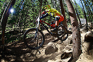 Anthony Diaz competes in Stage 3 of the Keystone Big Mountain Enduro in Keystone, CO. ©Brett Wilhelm