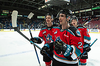 KELOWNA, BC - SEPTEMBER 28:  Liam Kindree #26, Sean Comrie #3 and Michael Farren #16 of the Kelowna Rockets exit the ice after the win against the Everett Silvertips at Prospera Place on September 28, 2019 in Kelowna, Canada. (Photo by Marissa Baecker/Shoot the Breeze)