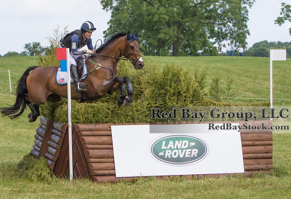 Jennie Brannigan riding Cambalda competes in the Cross-Country phase of the 2015 Land Rover Great Meadow International on Sunday, June 21, 2015, at the Great Meadow Foundation in The Plains, VA.