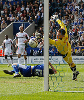 Photo: Steve Bond/Richard Lane Photography. Leicester City v Carlisle United. Coca Cola League One. 04/04/2009. Matty Fryatt 's (grounded) diving header is saved by Ben Williams