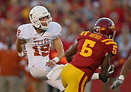 October 01, 2011: Texas Longhorns kicker Justin Tucker (19) watches a kick during the first half of the game between the Iowa State Cyclones and the Texas Longhorns at Jack Trice Stadium in Ames, Iowa on Saturday, October 1, 2011. Texas defeated Iowa State 37-14.