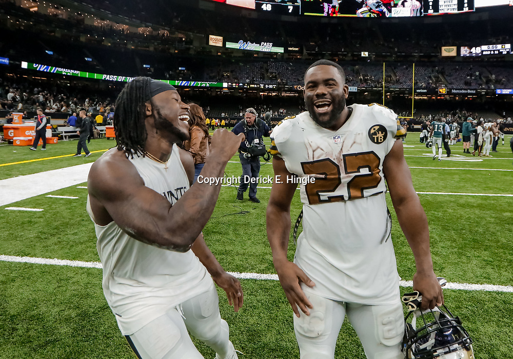 Nov 18, 2018; New Orleans, LA, USA; New Orleans Saints running back Alvin Kamara (41) and running back Mark Ingram II (22) celebrate after a 48-7 win against the Philadelphia Eagles at the Mercedes-Benz Superdome. Mandatory Credit: Derick E. Hingle-USA TODAY Sports