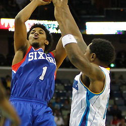 November 7, 2012; New Orleans, LA, USA; Philadelphia 76ers shooting guard Nick Young (1) shoots over New Orleans Hornets shooting guard Roger Mason Jr. (8) during the second half of a game at the New Orleans Arena. The 76ers defeated the Hornets 77-62. Mandatory Credit: Derick E. Hingle-US PRESSWIRE