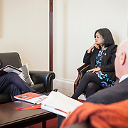 Representative Pramila Jayapal (D-WA, 7) listens to -- of the National Association of Independent Colleges and Universities, on Tuesday, January 31, 2017.  This was the last of 4 30-minute meetings with constituent advocacy groups during the day.  John Boal photo/for The Stranger