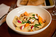 English Pea & Parmesan Agnolotti chanterelle, baby caroot, radish at Staple & Fancy in the Ballard neighborhood of Seattle.