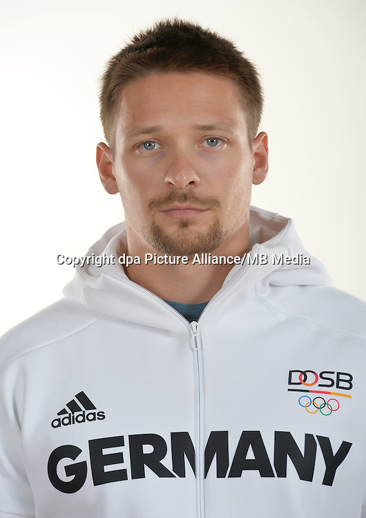 Stefan Kiraj poses at a photocall during the preparations for the Olympic Games in Rio at the Emmich Cambrai Barracks in Hanover, Germany. July 25, 2016. Photo credit: Frank May/ picture alliance. | usage worldwide